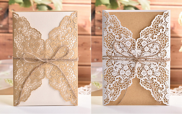 Laser Cut White elegant Pattern West Cowboy Style Vintage Wedding invitations Card Kit Blank Paper Printing Invitation
