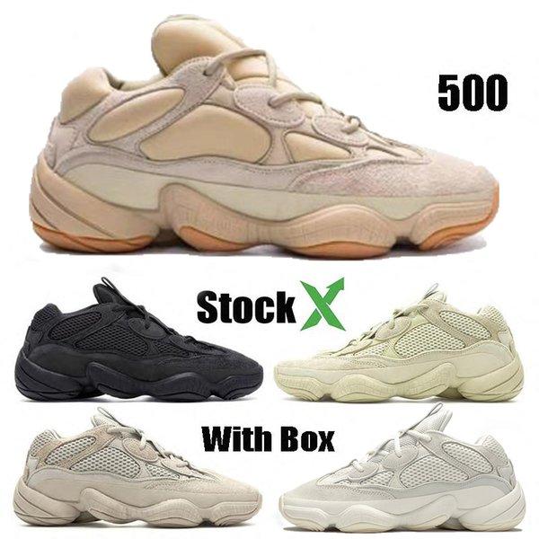 best selling 500 Desert Rat stone bone white Running Shoes blush Salt Super Moon Yellow Utility Black Kanye West Men Designer Sports Women Sneakers