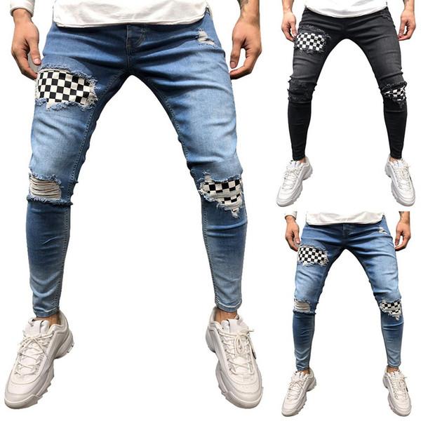 SHUJIN Homens Hip Hop Rasgado Calça Jeans Skinny Motociclista Bordado Jeans Destruído Calças Denim Calças 2019 Homens de Alta Qualidade