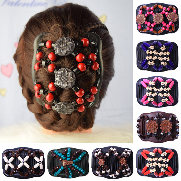 Wedding Ethnic Fashion Vintage Retro Double Beaded Wooden Hair Comb Clip Beads Elasticity Hairpin Stretchy Hair Combs Clamp Pins