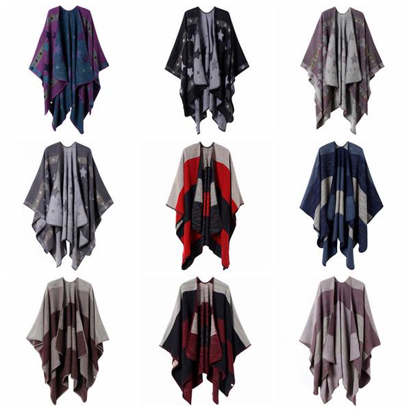 top popular 10styles Plaid star Poncho Scarf Tartan Winter Cape Grid Shawl Cardigan Cloak Tassel Wraps Girl Knit Scarves Coat Sweater Blankets FFA2874-1 2021