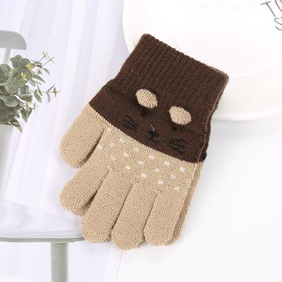 three-year-old child winter gloves cute knitted cat five-finger brushed men and women baby wool outdoor anti-e to keep warm