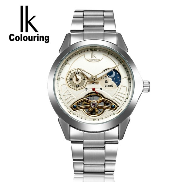 Automatic Mechanics Table Top Free Wheel Male Surface Sun Moon And Stars Personality Wrist-watches Hollow Out Man Wrist Watch