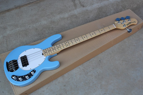 Free Shipping High Quality Ernie Ball Musicman Sting Ray 4 Strings Blue Active Pickup Electric Bass Guitar In Stock