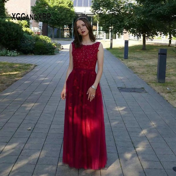 Elegant Tulle Long Prom Dress 2019 Scoop Sexy Backless Lace Applique Burgundy Floor Length Evening Dress Woman Gala Party
