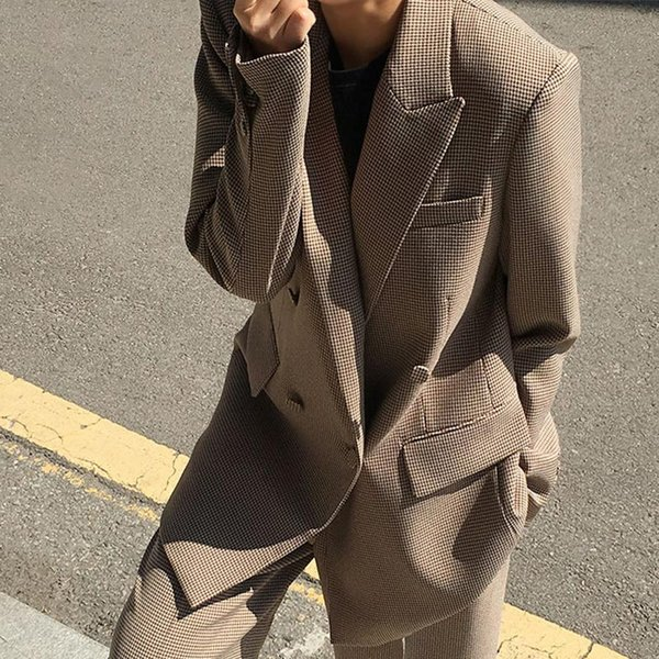 Plaid Print Vintage Women Long Blazer Jacket Autumn Double Breasted Slim Blazers Coat Female New Fashion Casual Jackets 2019