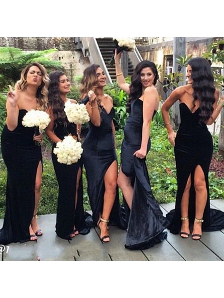 Sexy Black High Slit Velvet Bridesmaid Dresses Cheap Sweetheart Open Back Sheath Designer Long Wedding Party Prom Bridesmaids Dress