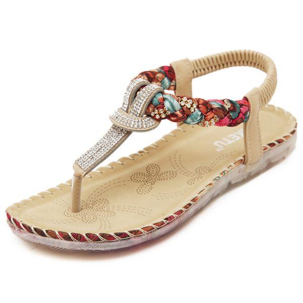 New summer women sandals gladiator bohemian flat rhinestone roman beach ladies shoes fashion flip flops big size sandalias mujer