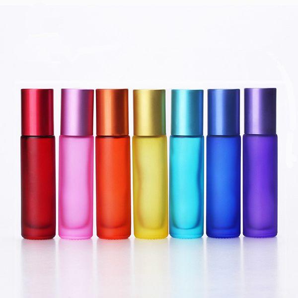 Frasco de perfume de vidro vazio 10ml com a bola de rolo de aço inoxidável Mini recipiente de óleo essencial colorido de viagem portátil RRA1348