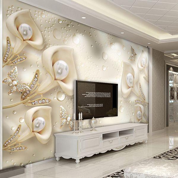 Özel Fotoğraf Duvar Kağıdı 3D Çiçek Kelebek İpek Su Damlası Arka Plan Duvar Kağıtları Ev Dekor Oturma Odası TV Duvar Boyama