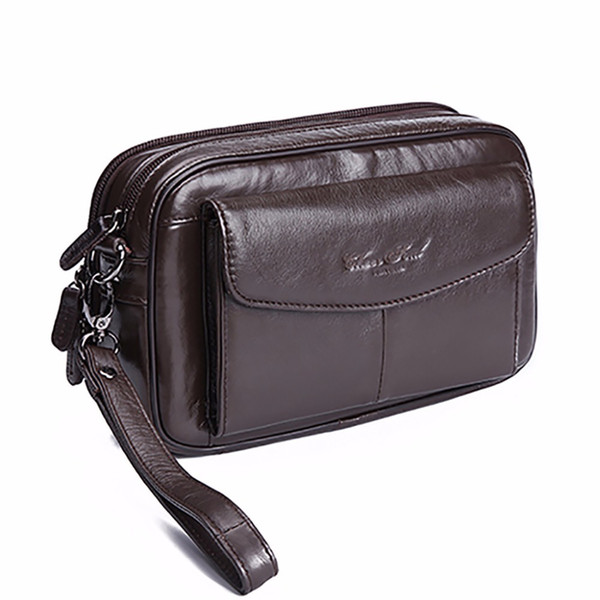 100% Genuine Leather Men Business Clutch Bags Mobile Phone Case Cigarette Purse Pouch First Layer Cowhide Male Handy Bag Wallet Y19052104