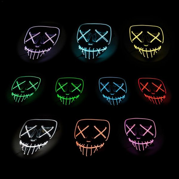 Mtb Bike Cycling Glowing Full Mask Dance Party LED Mask Cool Cold Light Dark Green Horror Sports Equipment