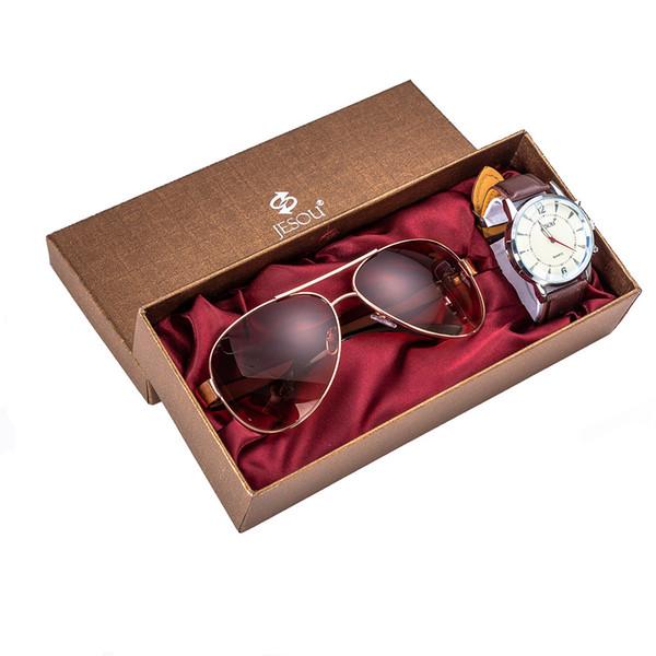 Tasarımcı Güneş Gözlüğü Yüksek Kaliteli Metal Menteşe Güneş Gözlüğü Erkek Gözlük gözlük UV400 Kuvars İzle + kutu Gözlük + İzle kombinasyonu Göndermek