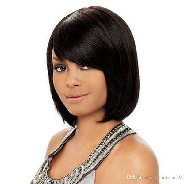 Top Quality Bob Short Straight Full Wigs Simulation Human Hair Short Bob  Wig Style Side Part Wigs For Black Girls In Stock Short Hair Wigs With  Bangs