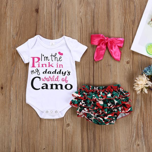 Recém-nascido Do Bebê Meninas Macacão Camuflagem Shorts 2 pcs set Carta de Impressão Roupas Eu sou o rosa no mundo do meu pai de roupas de bebê bodysuit camo