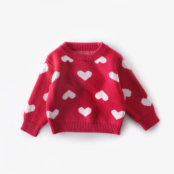 2019 new autumn sweet knitted sweater t-shirt full of love round neck pullover shirt cotton yarn female baby clothes