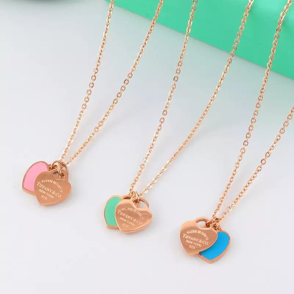 18K rose gold blue and pink Enamel heart pendant necklace ladies jewelry love pendant chain custom wedding gift T pendant short necklace