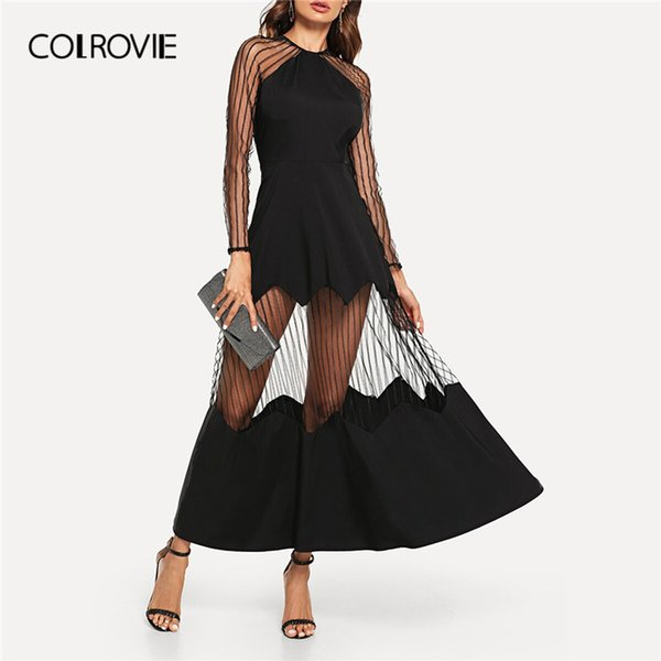 Colrovie Black Striped Mesh Sheer Maxi Flare Party Maxi Dress Women 2019 Summer A Line Glamorous Vintage Sexy Ladies Dresses SH190720