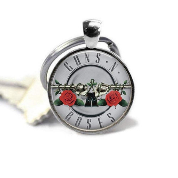 Rose Art Image Photo Glass Cabochon Charm Silver Metal Key Ring Quote Jewelry Pendant Glass Dome Key Chain