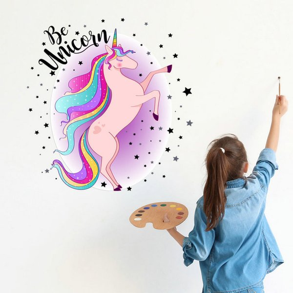 Retail 6 styles Kids cartoon Star Unicorn Wall Sticker Children Room Removable Wall Sticker Stickers Wallpapers Decorative home decor party