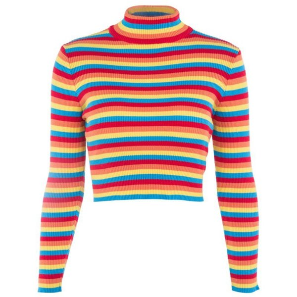 Womens Spring Long Sleeve Turtleneck Sweater Rainbow Stripes Short Crop Tops Bodycon Ribbed Knitted Basic Pullover Jumper
