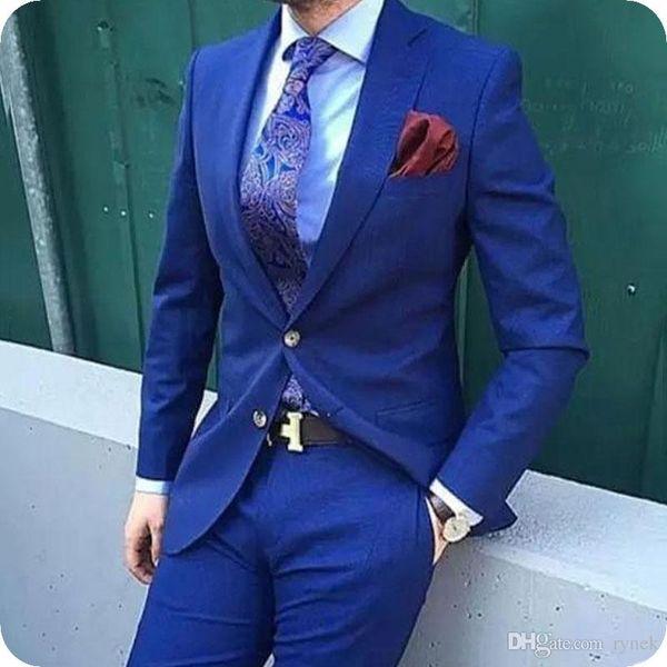 Handsame Royal Blue Men Suits for Wedding Groom Wedding Tuxedos Two-Button 2Piece Groomsmen Suits Man Blazer Pants Slim Fit Costume Homme