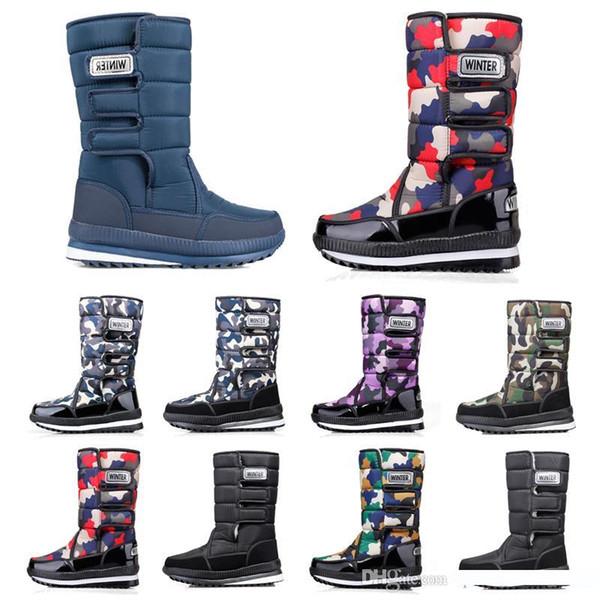 2020 Luxus-Designer-Frauen Männer Stiefel über das Knie-Schenkel-hohe Schneewinterstiefel wasserdichte Plattform Booties 36-45 Kostenlosen Versand Artikel Mens 19
