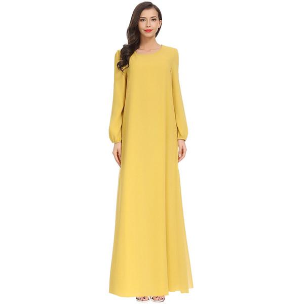Мусульманская одежда платье Женская одежда Мусульманская 2019 Размер Плюс Сплошной цвет Шифон с длинным рукавом Арабский Ислам Джилбаб Рамадан