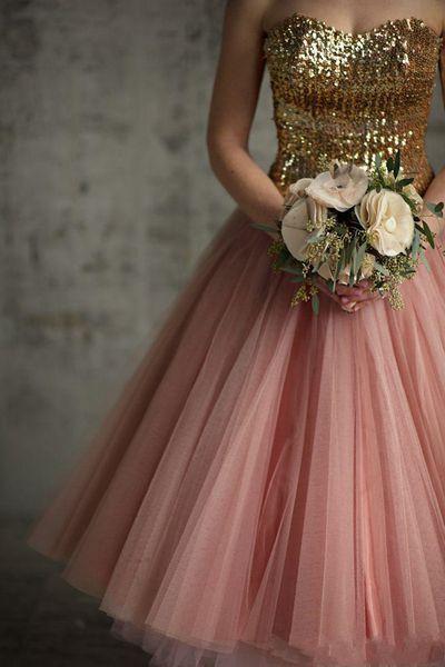 2019 New Vintage Gold Sequins Bridesmaid Dresses A Line Tea Length Blush Pink Tulle Cocktail Dresses Length Short Bridesmaid Gowns