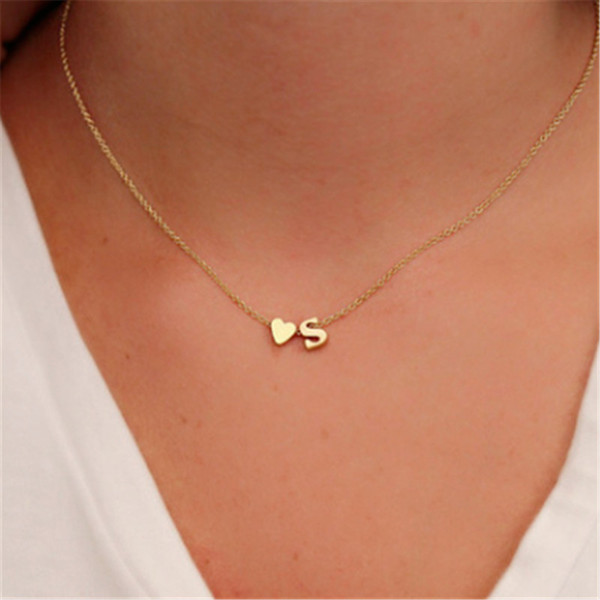 Fashion Simple Heart Initial Letter Necklaces For Women Personalized 26 Alphabet Gold Silver Pendant Choker Necklace Girls Trendy Jewelry Buy At The Price Of 0 77 In Dhgate Com Imall Com
