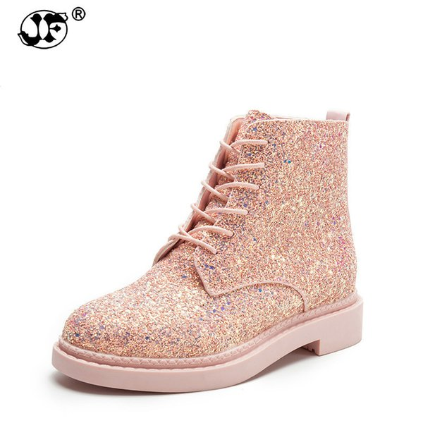 Women Ankle Boots Heels Female Shoes Woman Autumn Glitter Lace up Boots Casual Bling low cylinder Martin boots Korean sdt67