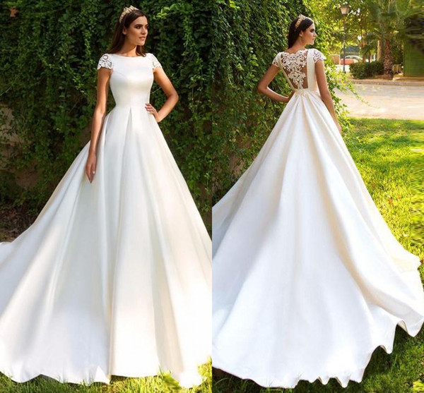 Discount 2019 Elegant Lace Appliqued A Line Satin Wedding Dress Cheap Bateau Sheer Back Cap Sleeves Plus Size Bridal Gown Sexy Wedding Dress Vintage