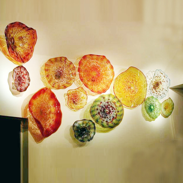 100% hand Blown Glass Plate Wall Pictures Of Blown Glass Wall Art Elegant Art Decor Multi color plates light for home and hotel