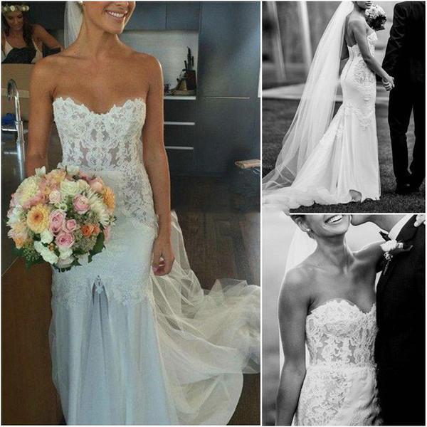 Charme-Schatz-Nixe-Hochzeits-Kleid-Fußboden Länge nach Maß rückseitige Abdeckung Knopf bodenlangen Strand Brautkleider 2019