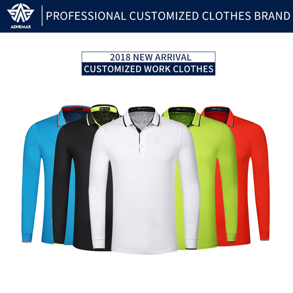 Adhemar brand mens polo shirt fitness running outdoor sports jogging workout tops Long sleeve tennis t shirts golf