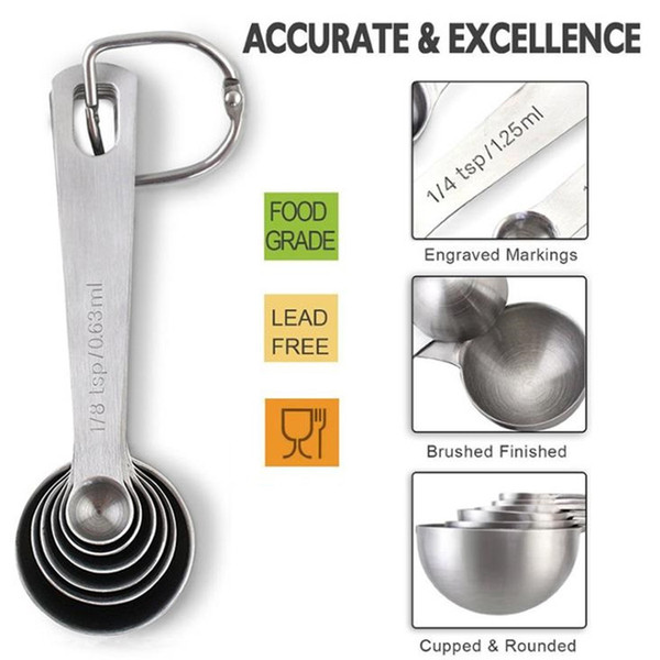 Paslanmaz çelik dairesel kaşık ölçme 6 parça suit Pişirme ölçeği çeşni çeşni kaşık pişirme kaşığı T9I0020