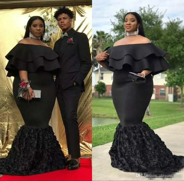 Plus Size Mermaid Prom Dresses Black Off The Shoulder Cheap Evening Gowns Ruched Sweep Train 3D rose floral African Women Formal Party Dress