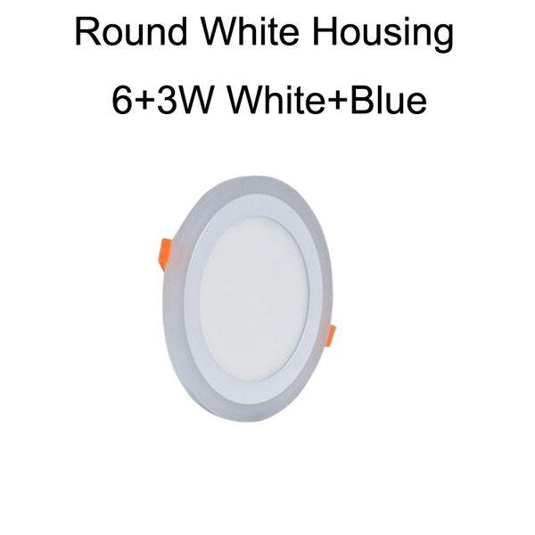 Round White Housing 6+3W White+Blue