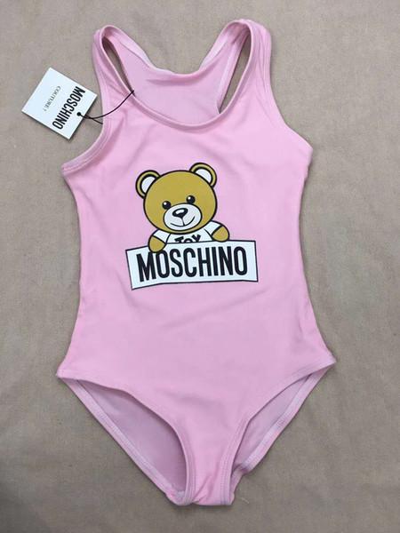 top popular Hot Summer Kids Bear Pattern Swimwear Baby Girls Bikini Swimwear One-Piece Letter Swimsuit Swimming Wears 2020