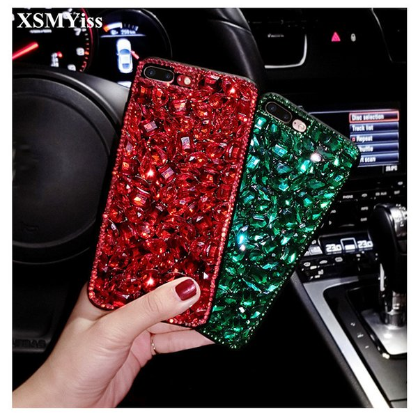 For Samsung Note 4 5 8 S6 S9 S7 edge S8 Luxury Girls Fashion Glitter Diamond Bling Red Rhinestone Phone Case Soft TPU Back Cover