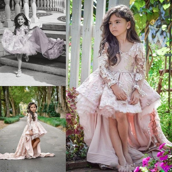 Pink High Low Long Sleeve Flower Girl Dresses V Neck Lace Applique Ruffles Girls Pageant Gowns Children A Line Kids Prom Party Dresses