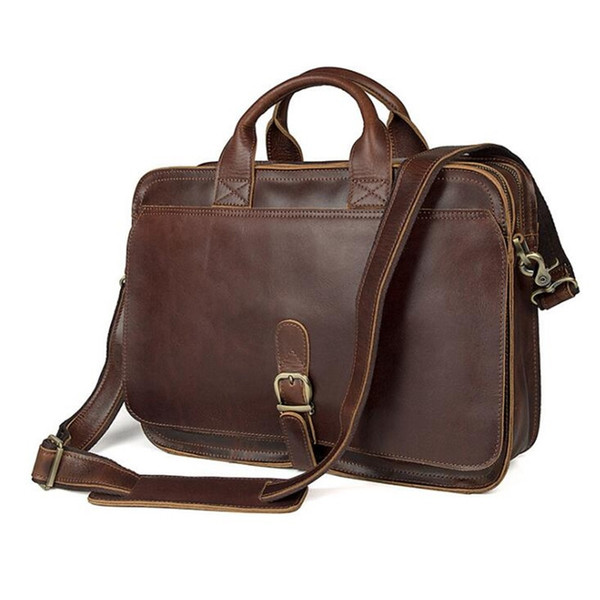"Top Grade Fashion Men's Messenger Vintage Real Crazy Horse Leather Briefcase Male 14"" Laptop Handbags Laptop Shoulder Bag #208899"