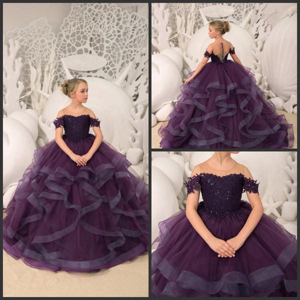 2019 New Dark Purple Blumenmädchenkleider reiner Hals eine Linie Erstkommunionkleider Rüsche Rock Mädchen Festzug Kleider