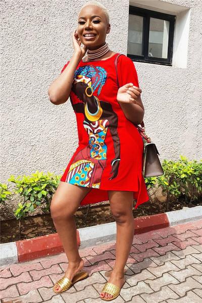 Slip Vestido estampado de niña africana Multicolor Opcional para mujer Vestido casual Conjunto Cabeza Cuello redondo Vestido de camiseta