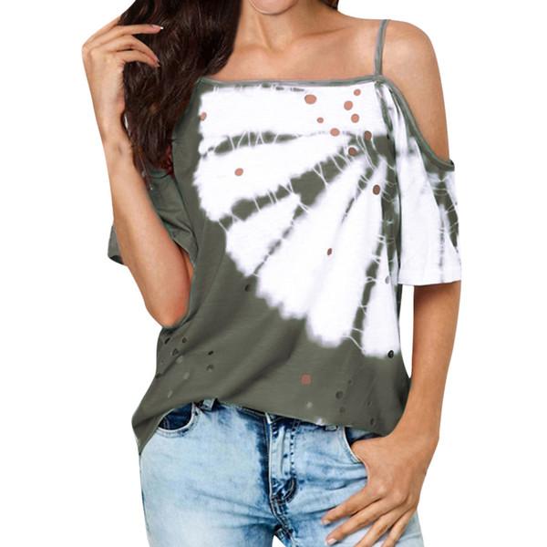 MUQGEW Camiseta Mujer Sin Tirantes Hombro Frío Hollow Mariposa Impresa Tops Camisa de media longitud camisetas verano mujer 2019 # 6030