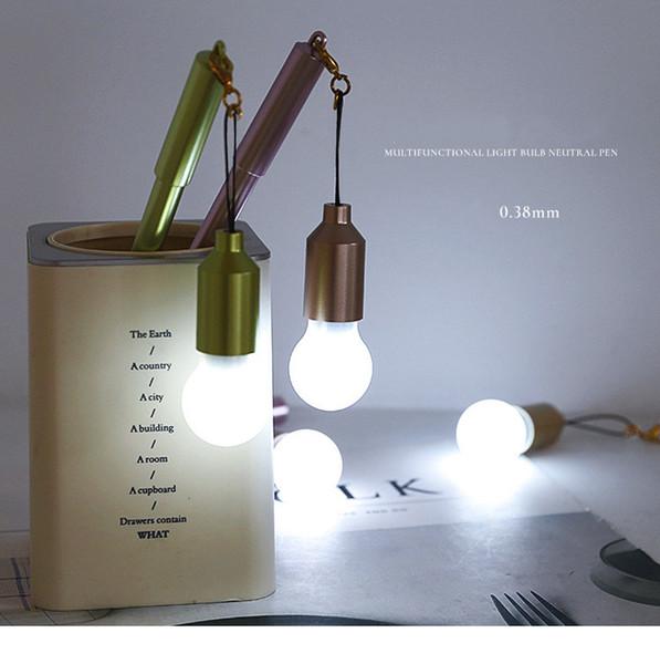 0.38mm unique design Korean hot gift lovely pens shinning pen with bulb light