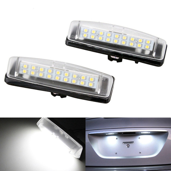 best selling 2pcs lot LED License Plate Lamps COB Free 18LED For Toyota Camry Echo Prius Lexus IS LS GS ES RX Mitsubishi Light Accessories HHA93