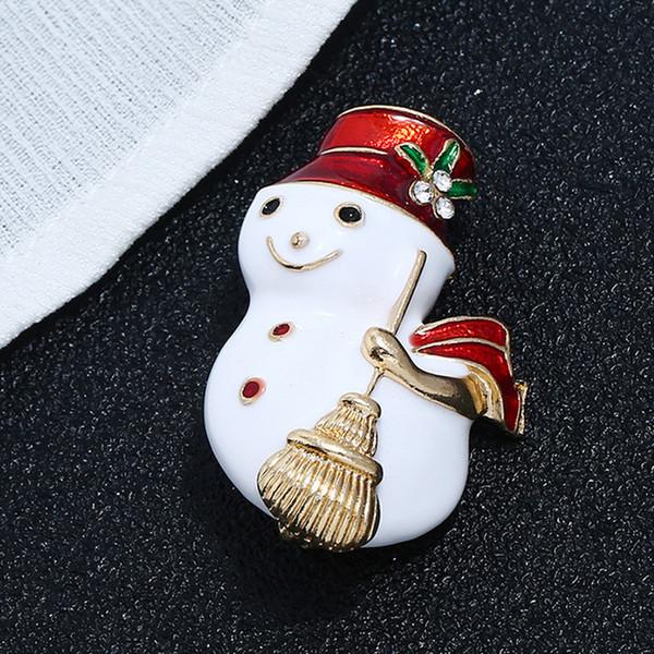 Mujeres Metal Rhinestone Muñeco de nieve Broche de Navidad Muñeco de nieve Broche Traje de Solapa para la Joyería de Moda Fiesta de Regalo