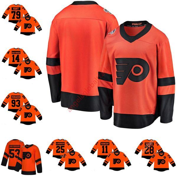 Men's Philadelphia Flyers 2019 Stadium Series Jersey 79 Carter Hart Nolan Patrick Wayne Simmonds Claude Giroux Shayne Gostisbehere Voracek