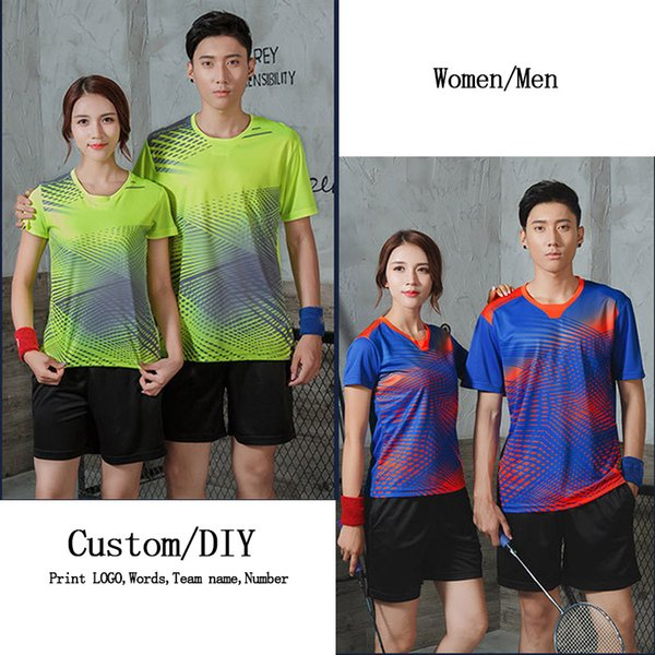 women&men sportswear quick dry badminton polo set jerseys,table tennis shirt team game volleyball short sleeve, White;yellow